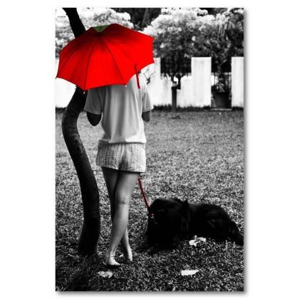 Αφίσα (κορίτσι, κόκκινο, ομπρέλα)